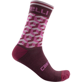 Castelli Cubi 15 Calcetines Mujer, pro red/pink